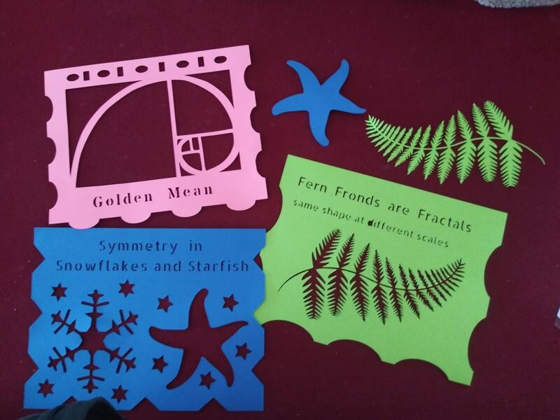 3 digitally cut paper sheets, showing illustrations of a golden mean spiral, fractals in plant anatomy, and radial symmetry