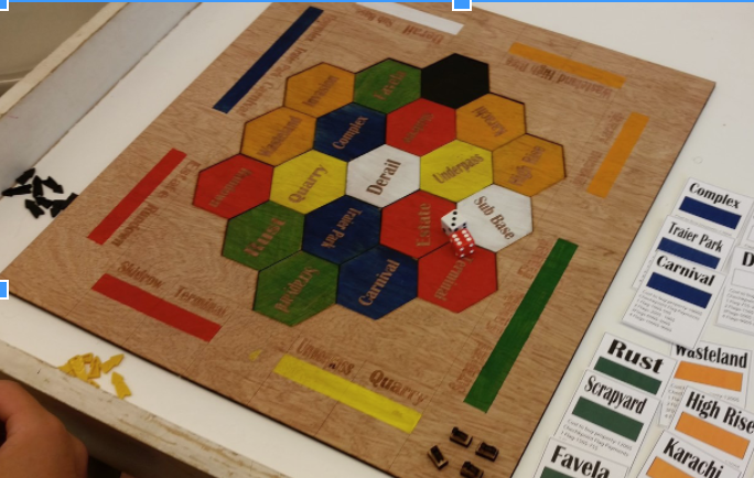 a custom-made board game show with vocabulary playings cards
