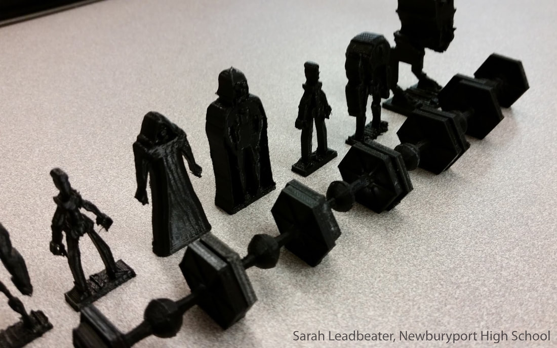 a set of 3-D printed Star-Wars themed chess pieces