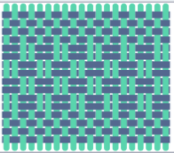 Scratch-generated graphic showing a yarn-weaving pattern
