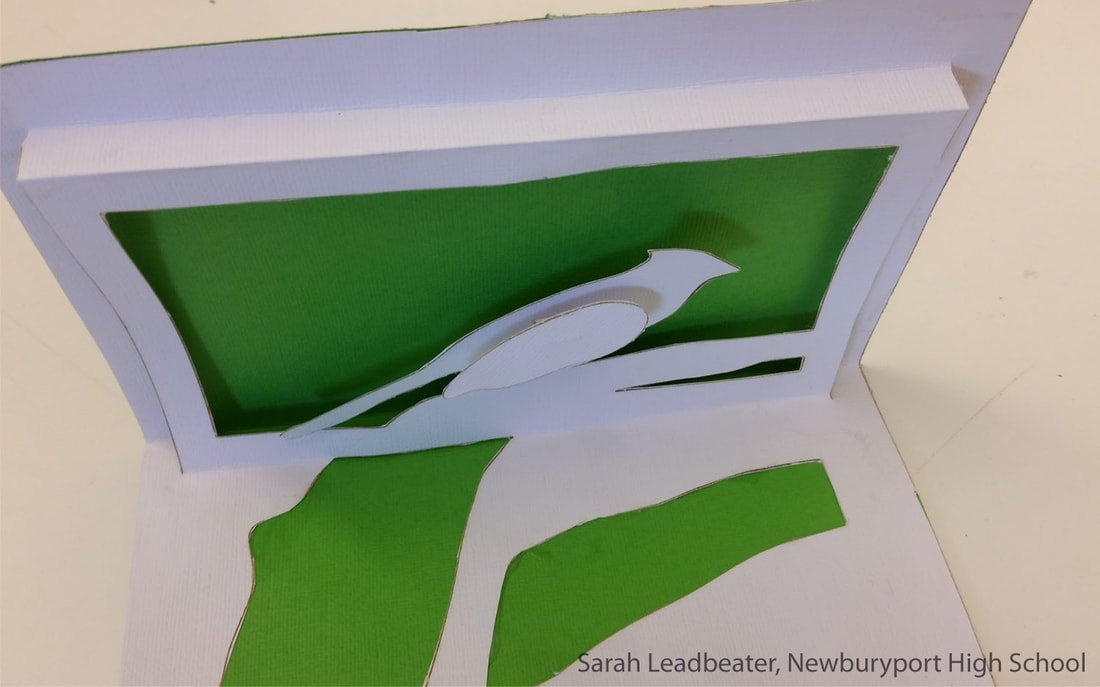 cardstock cutout of a crested bird, displayed as a shadowbox style pop up